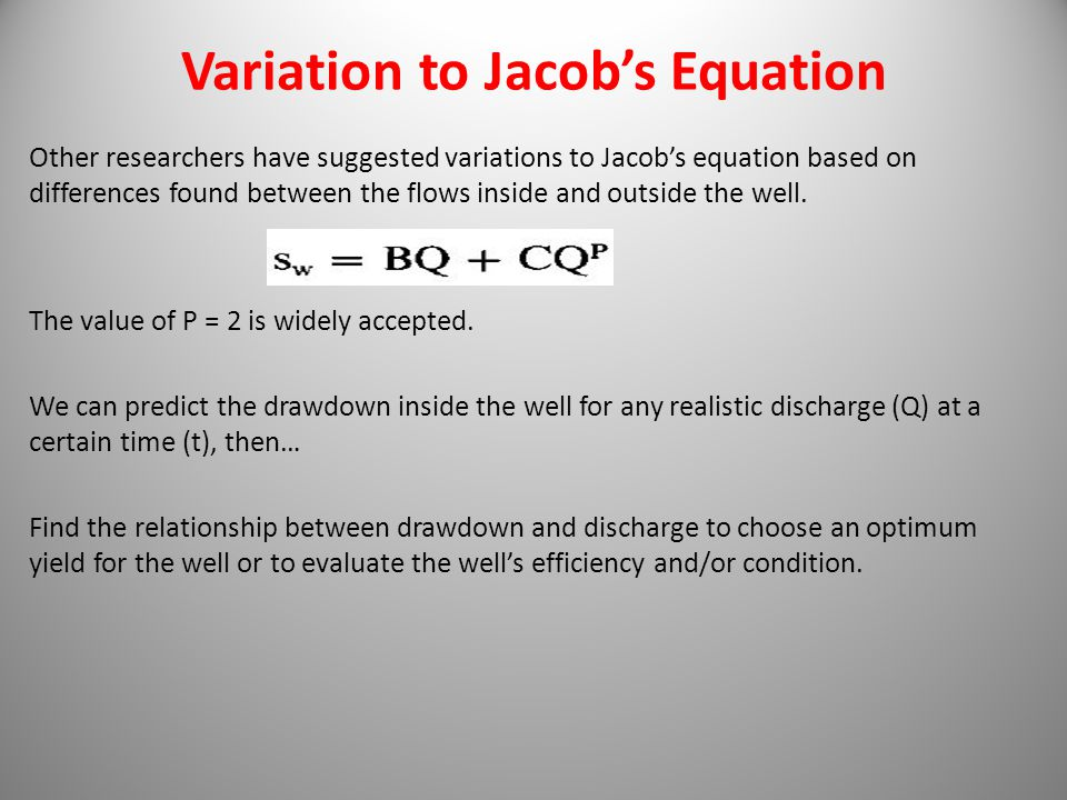 Variation to Jacob's Equation