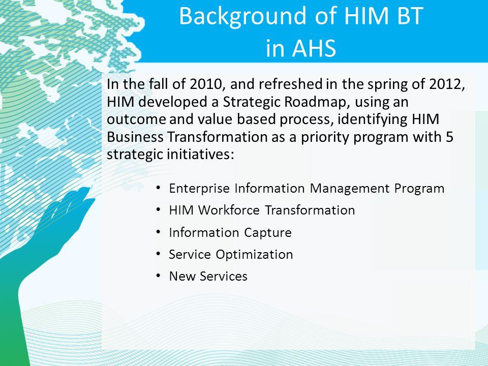 Background of HIM BT in AHS