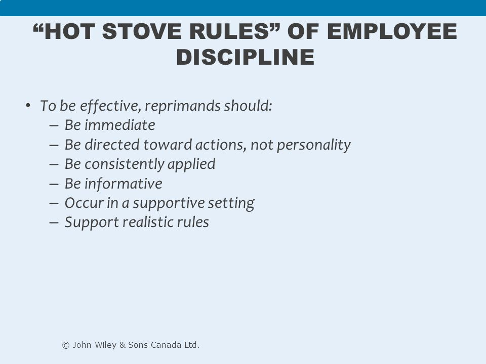 Hot stove rules of employee discipline