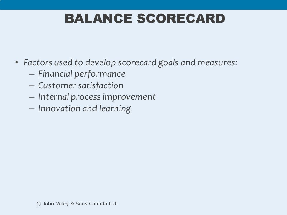 Balance Scorecard Factors used to develop scorecard goals and measures: Financial performance. Customer satisfaction.