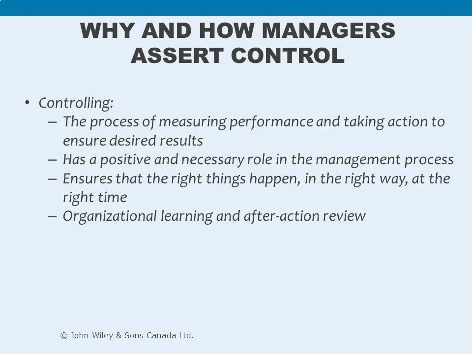 Why and How Managers Assert Control