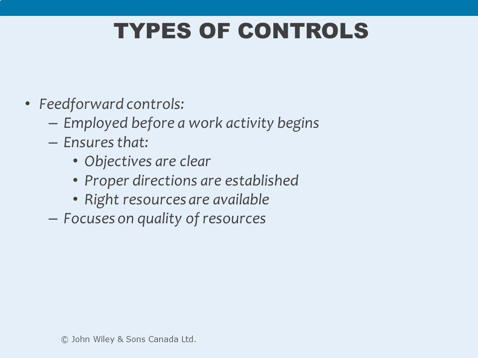 Types of Controls Feedforward controls: