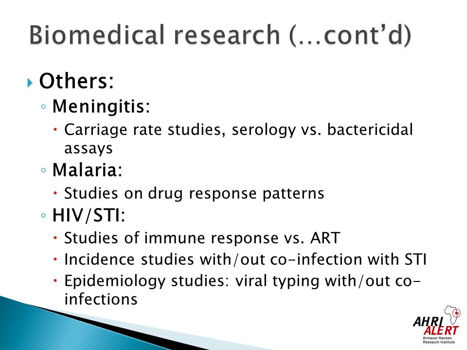 Biomedical research (…cont'd)