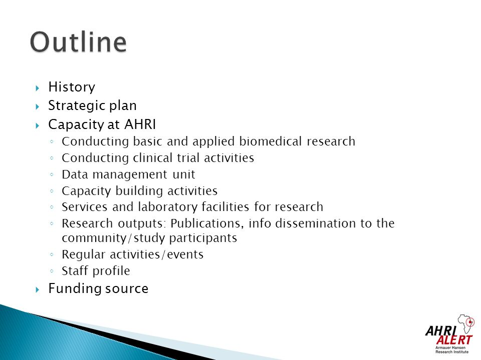 Outline History Strategic plan Capacity at AHRI Funding source
