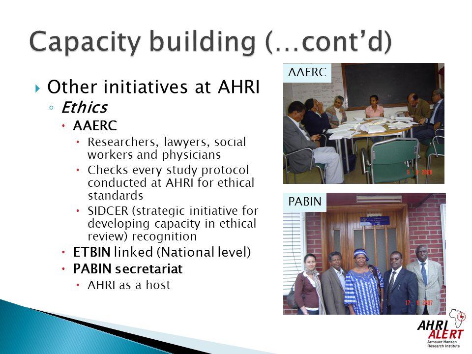 Capacity building (…cont'd)