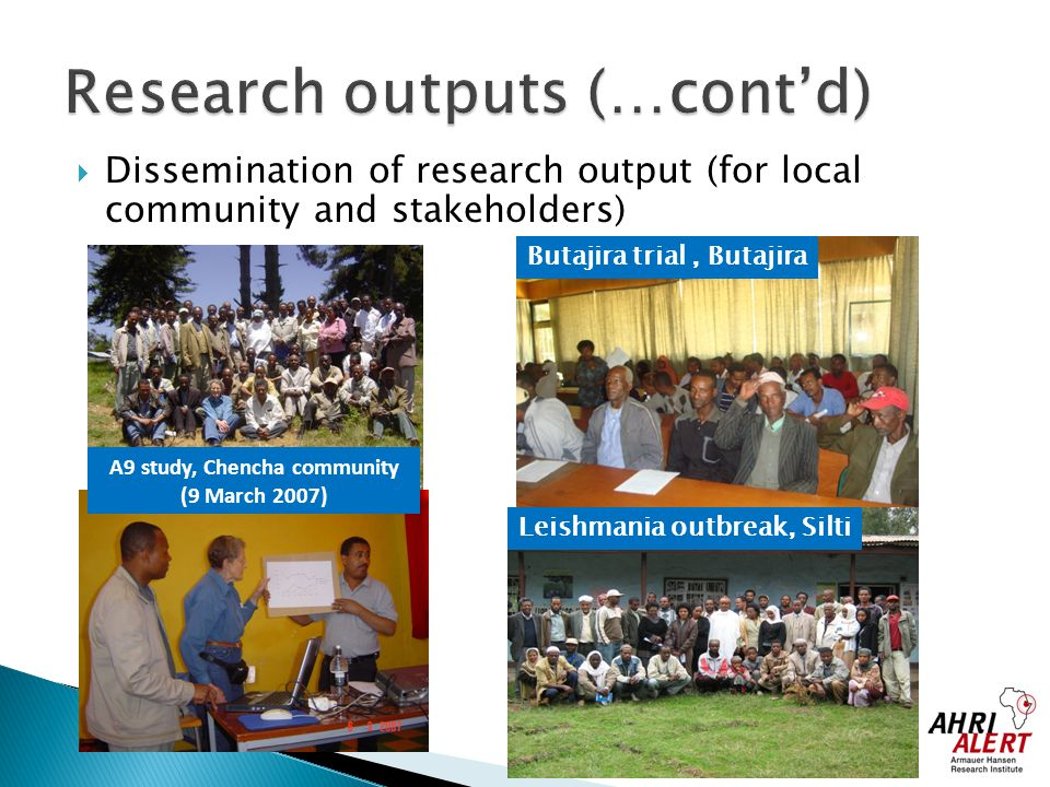 Research outputs (…cont'd)