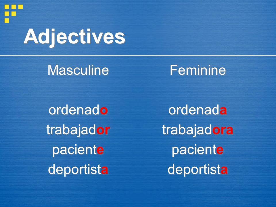 Adjectives Masculine ordenado trabajador paciente deportista Feminine