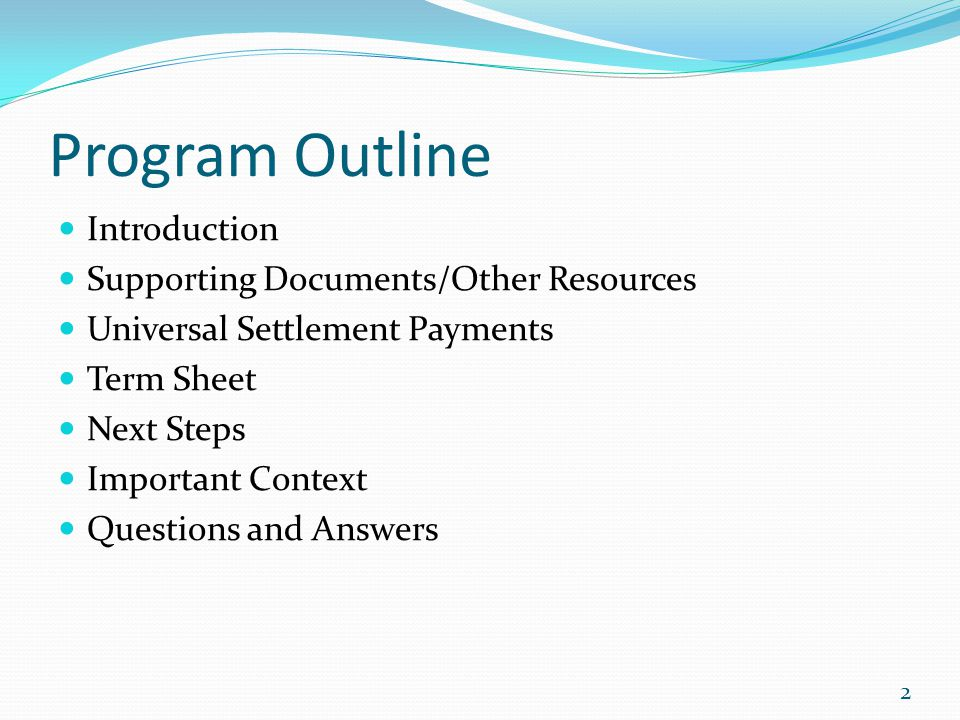 Program Outline Introduction Supporting Documents/Other Resources