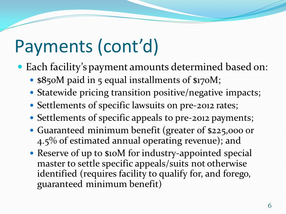 Payments (cont'd) Each facility's payment amounts determined based on: