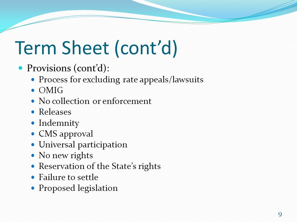 Term Sheet (cont'd) Provisions (cont'd):