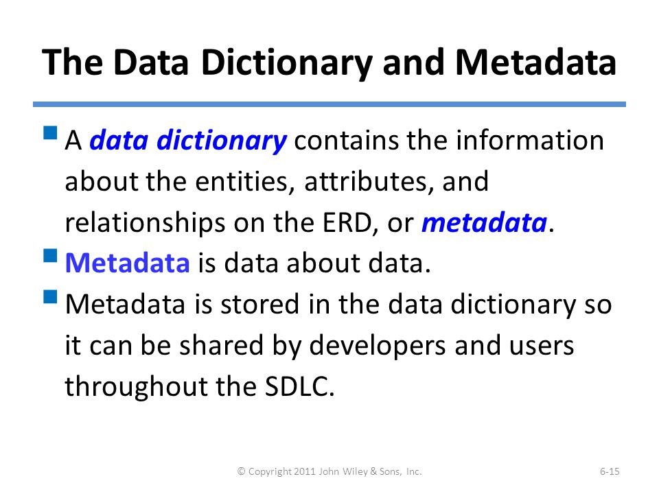 (cont'd) Example of Data Dictionary Entry for Entity