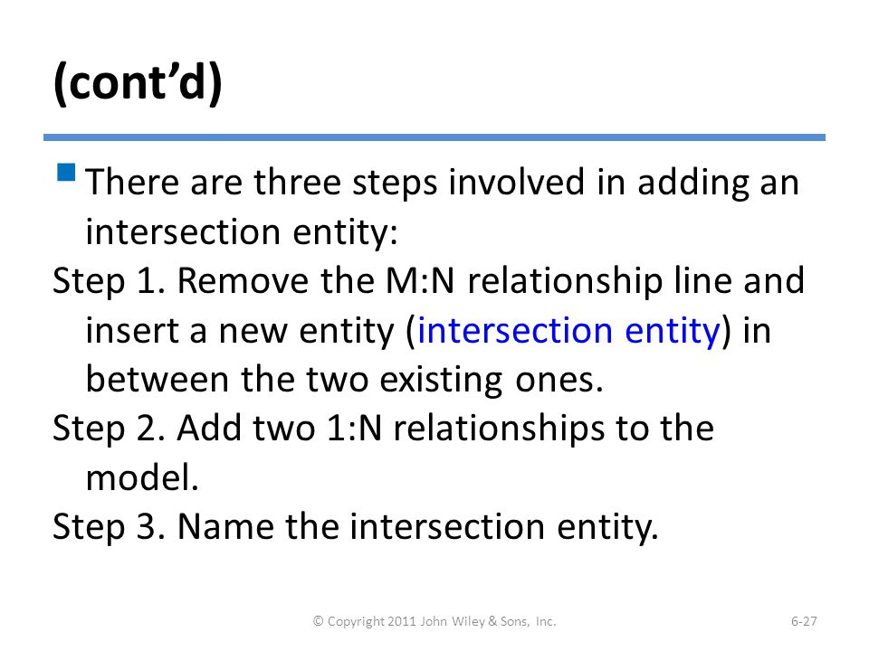 (cont'd) Resolving an M:N Relationship