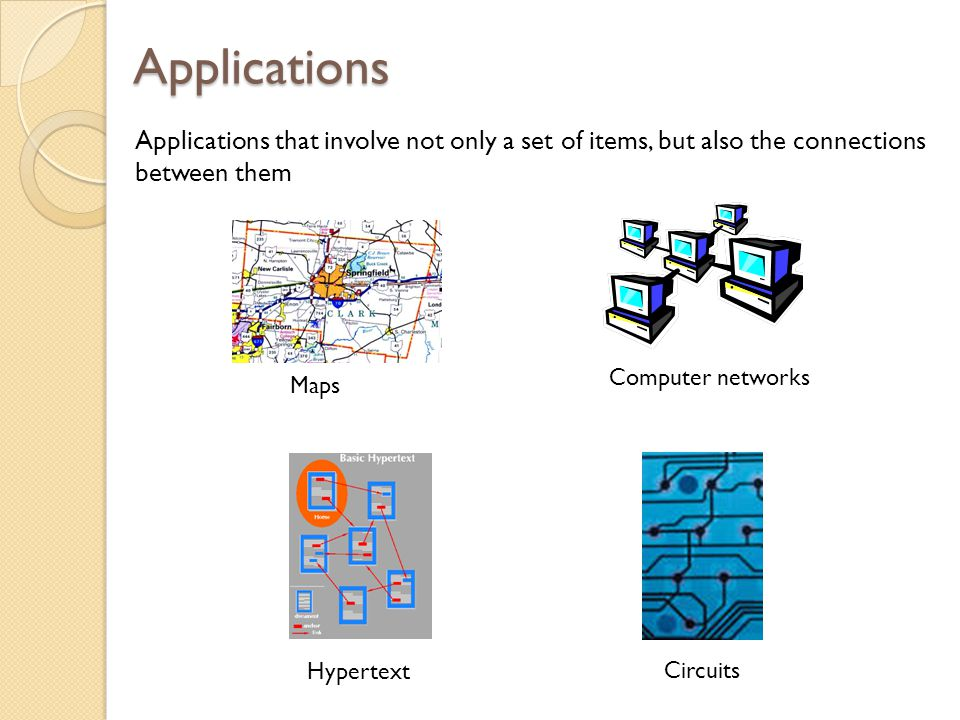 Applications Applications that involve not only a set of items, but also the connections between them.