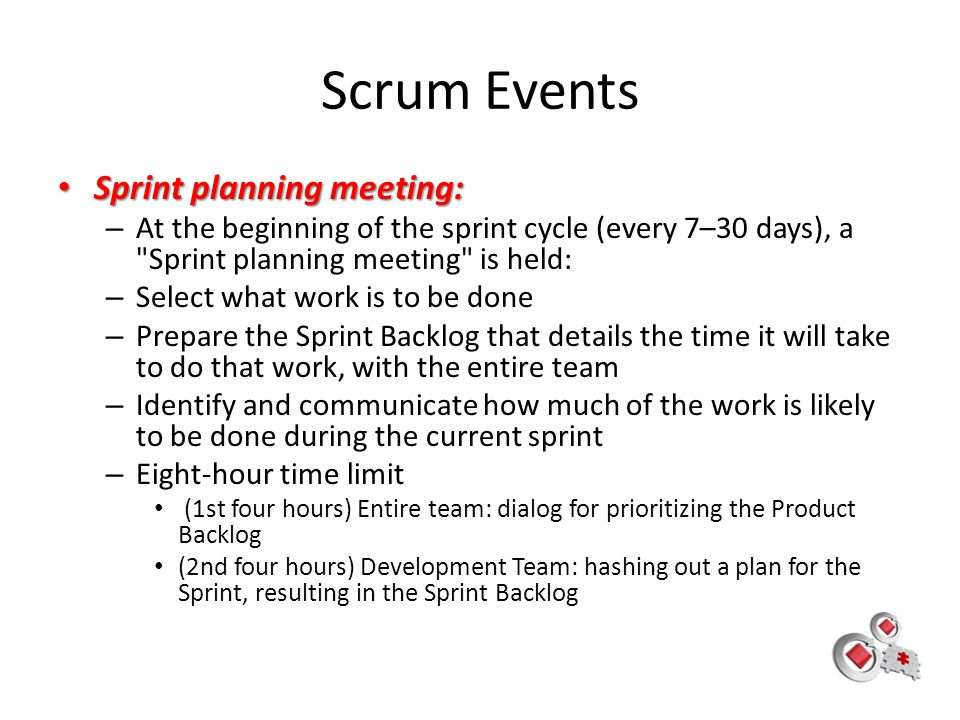 Scrum Events Sprint planning meeting: