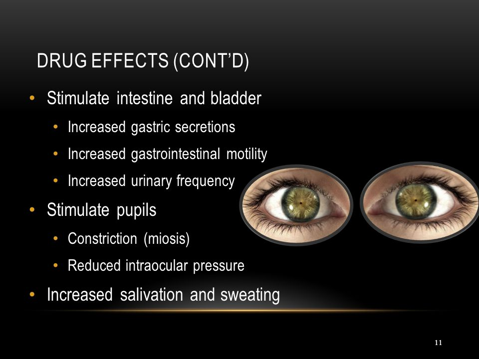 Drug Effects (cont'd) Stimulate intestine and bladder Stimulate pupils