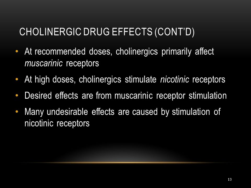 Cholinergic Drug Effects (cont'd)