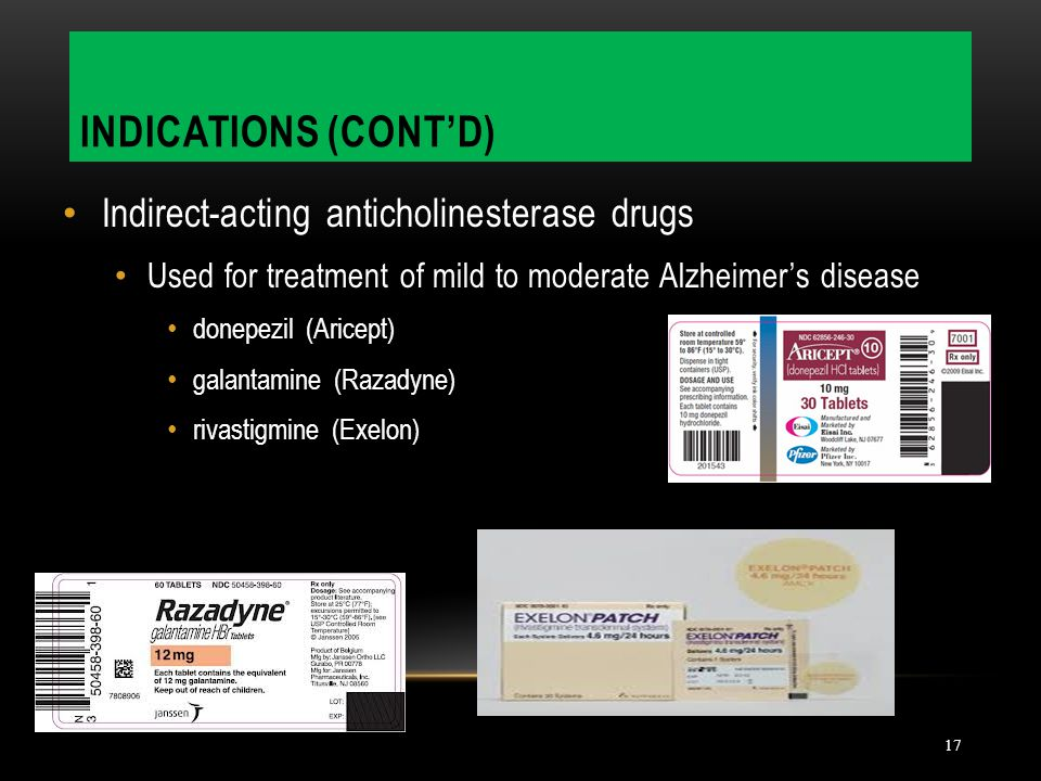 Indications (cont'd) Indirect-acting anticholinesterase drugs