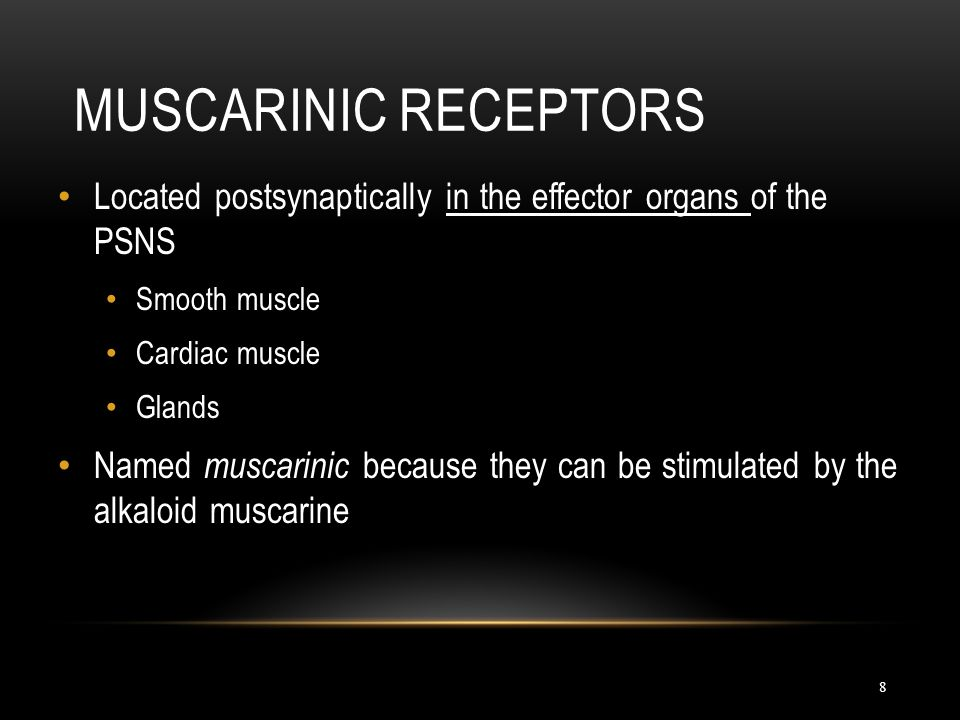 Muscarinic Receptors Located postsynaptically in the effector organs of the PSNS. Smooth muscle. Cardiac muscle.