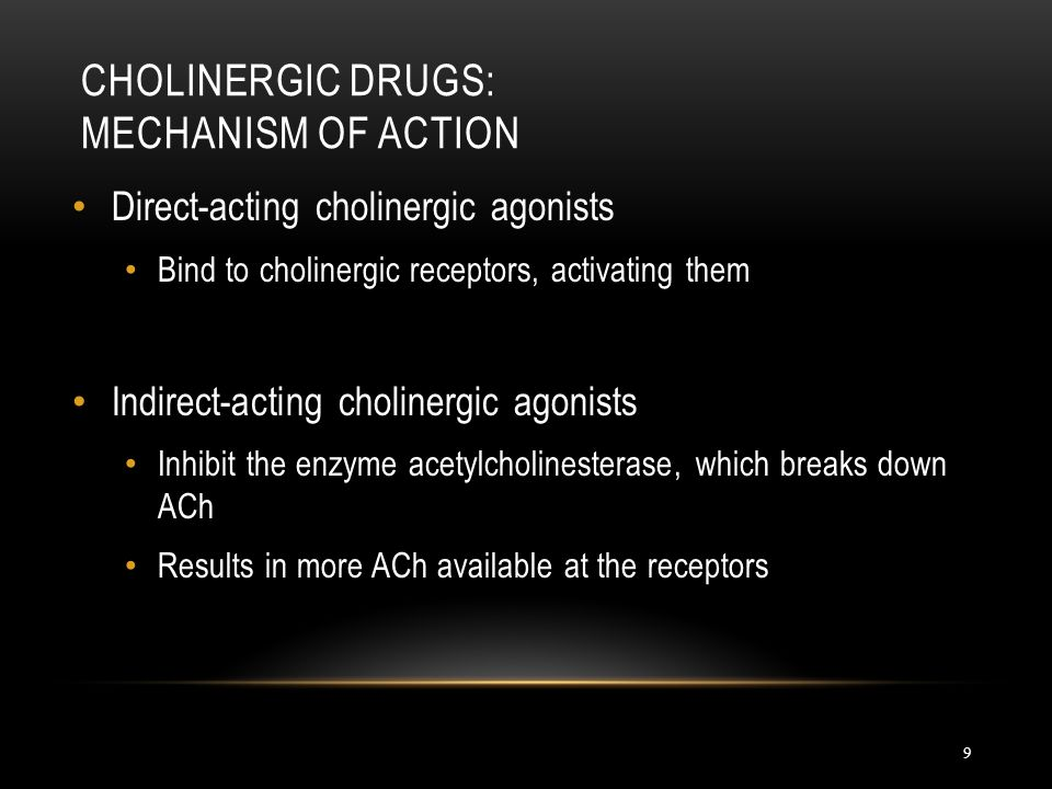 Cholinergic Drugs: Mechanism of Action