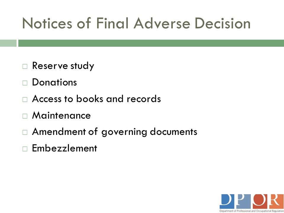Notices of Final Adverse Decision