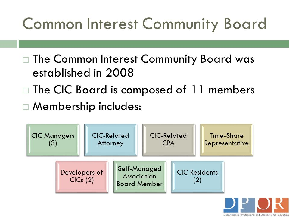 Common Interest Community Board