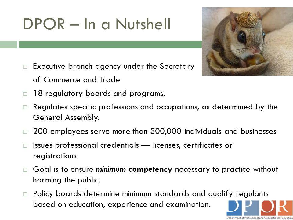 DPOR – In a Nutshell Executive branch agency under the Secretary