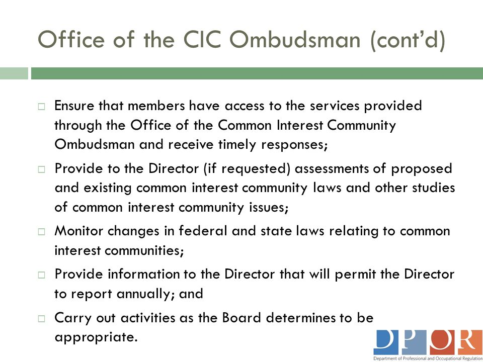 Office of the CIC Ombudsman (cont'd)