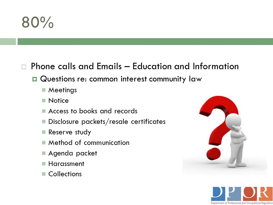 80% Phone calls and Emails – Education and Information