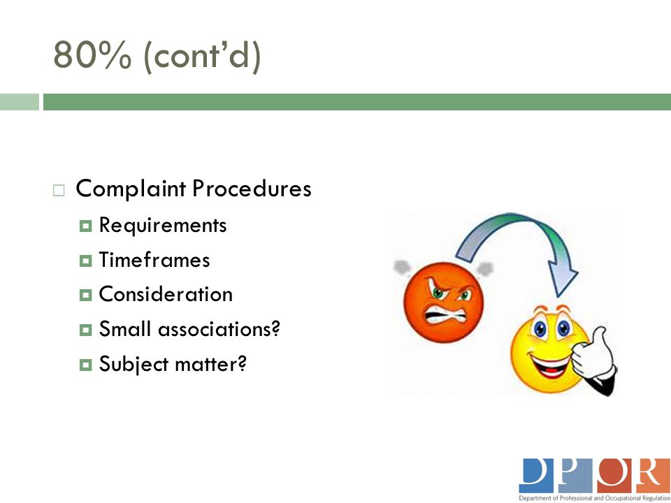 80% (cont'd) Complaint Procedures Requirements Timeframes