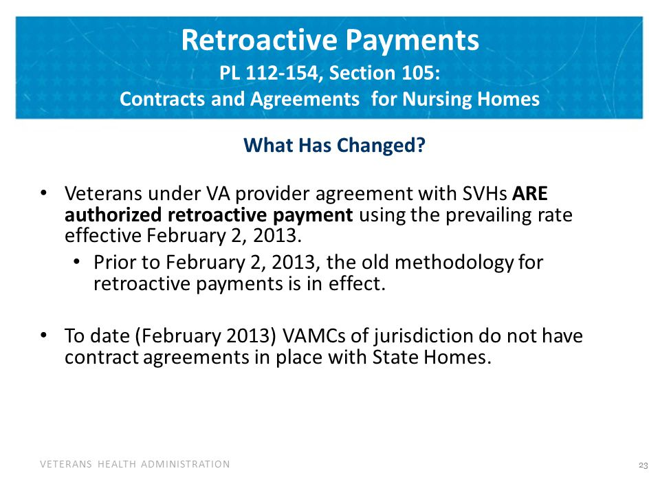Retroactive Payments Cont'd