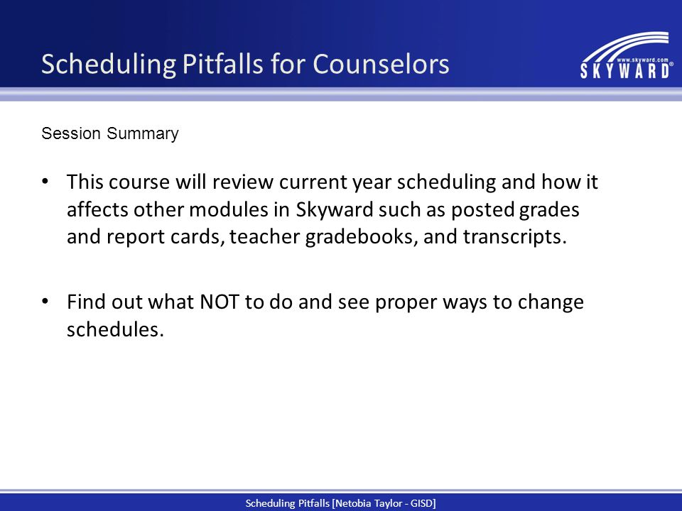 Scheduling Pitfalls for Counselors