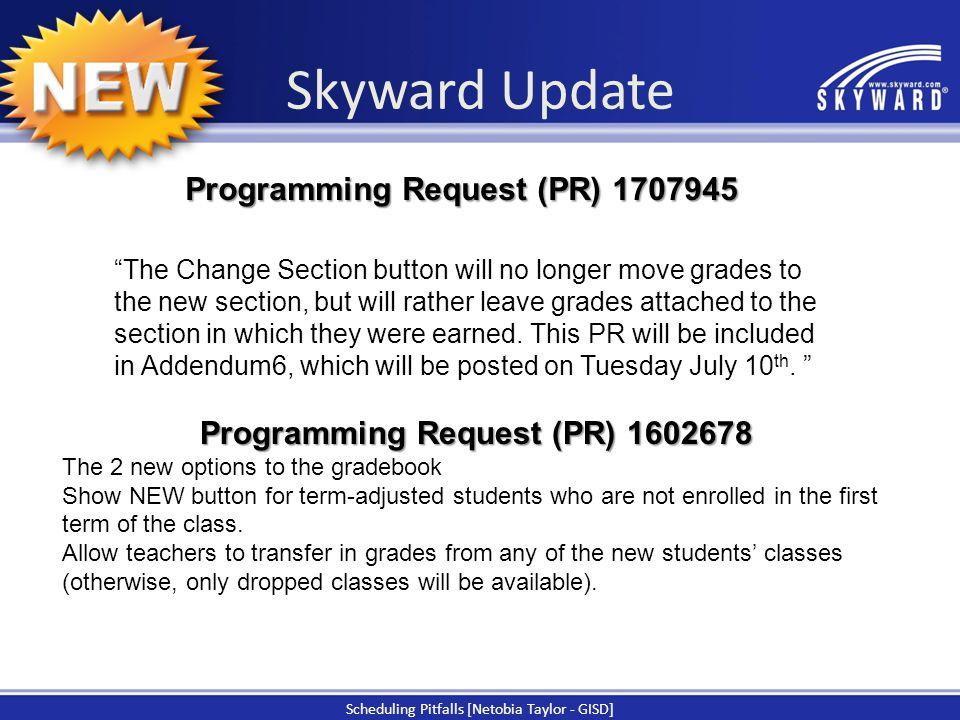 Programming Request (PR) 1602678