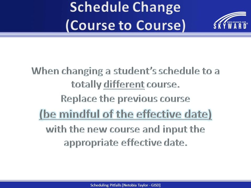 Schedule Change (Course to Course)