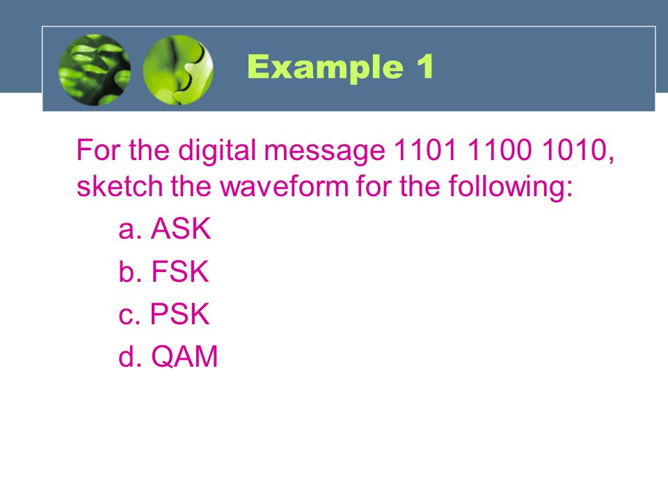 Example 1 For the digital message 1101 1100 1010, sketch the waveform for the following: a. ASK. b. FSK.