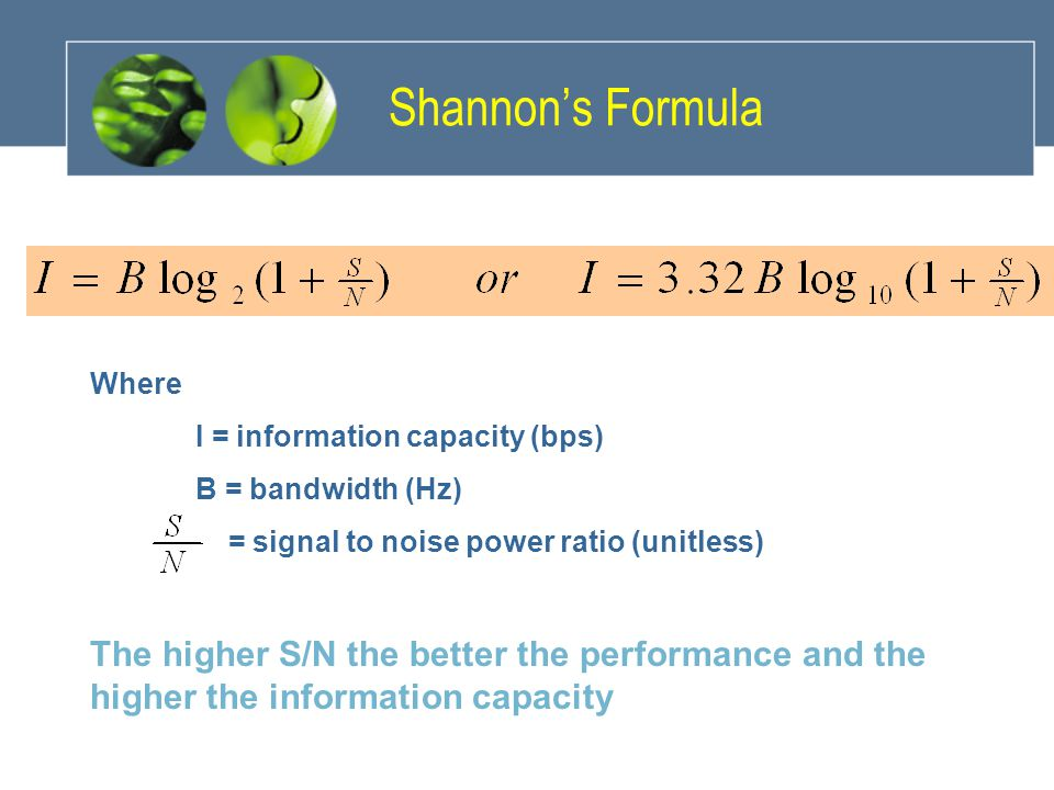Shannon's Formula Where. I = information capacity (bps) B = bandwidth (Hz) = signal to noise power ratio (unitless)
