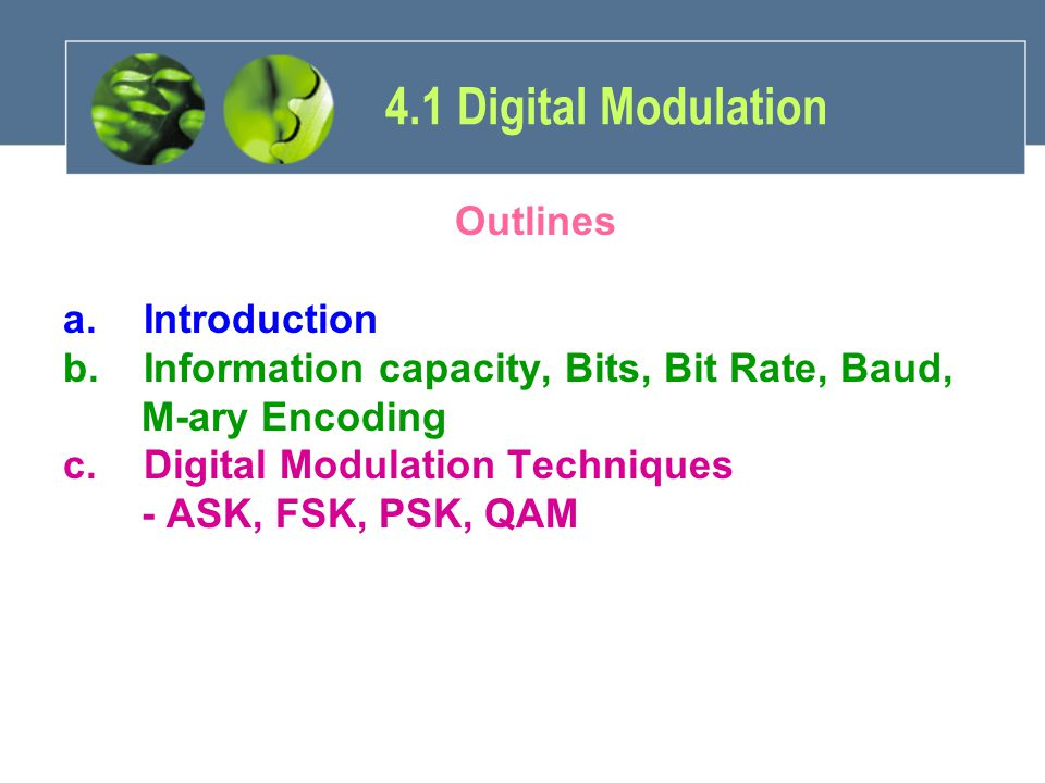4.1 Digital Modulation Outlines Introduction