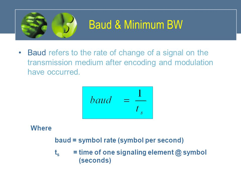 Baud & Minimum BW Baud refers to the rate of change of a signal on the transmission medium after encoding and modulation have occurred.