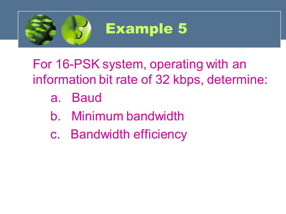 Example 5 For 16-PSK system, operating with an information bit rate of 32 kbps, determine: a. Baud.