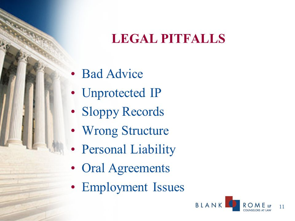 LEGAL PITFALLS Bad Advice. Unprotected IP. Sloppy Records. Wrong Structure. Personal Liability.