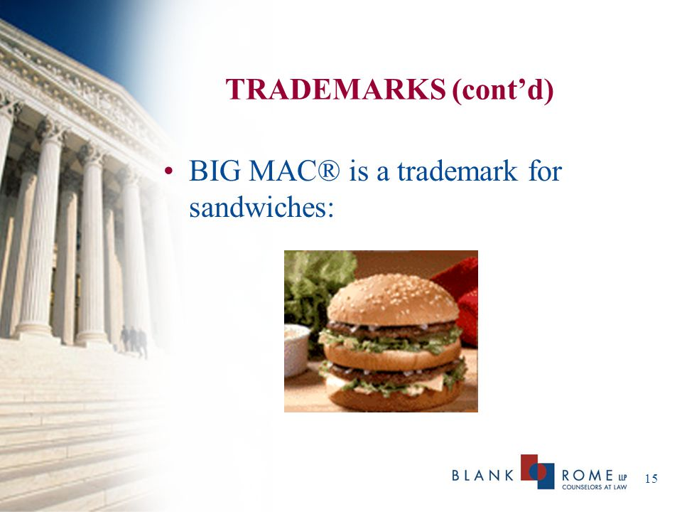 TRADEMARKS (cont'd) BIG MAC® is a trademark for sandwiches: