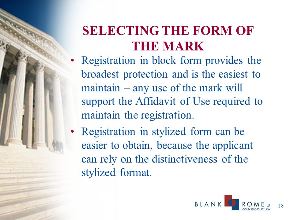 SELECTING THE FORM OF THE MARK