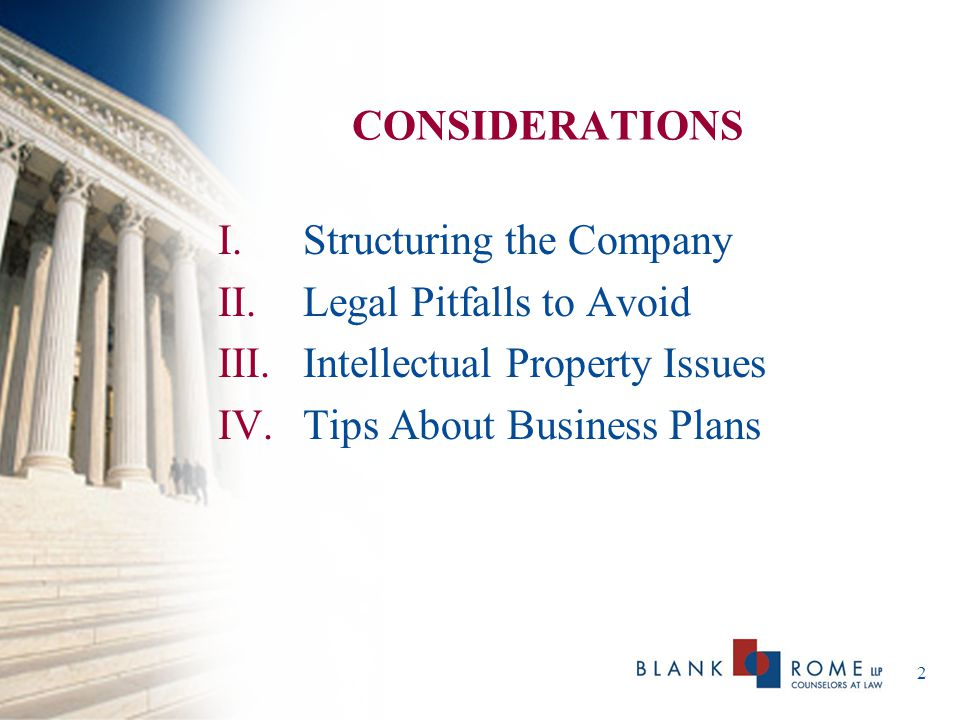 CONSIDERATIONS Structuring the Company. Legal Pitfalls to Avoid.