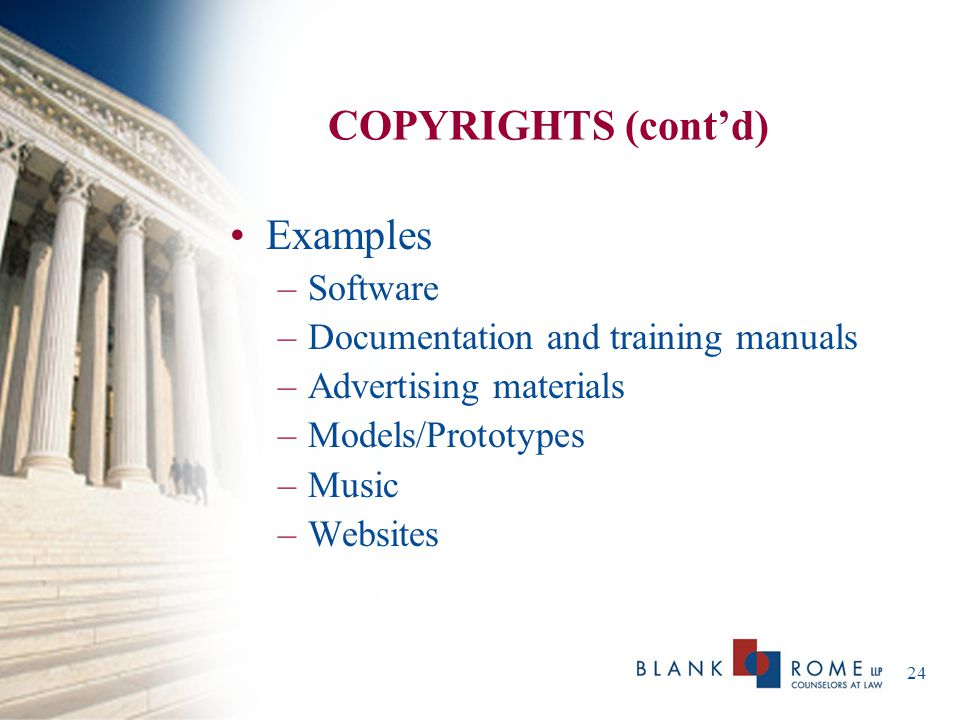COPYRIGHTS (cont'd) Examples Software