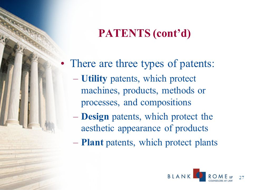 There are three types of patents:
