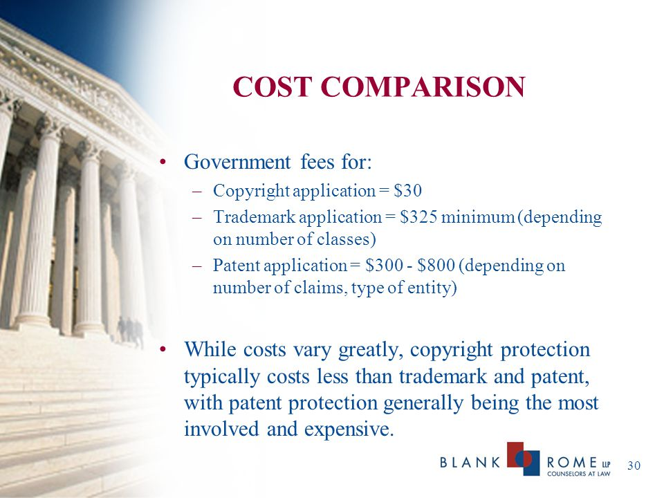 COST COMPARISON Government fees for: