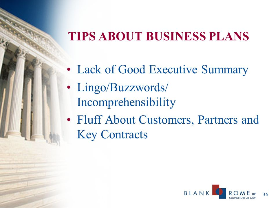 TIPS ABOUT BUSINESS PLANS