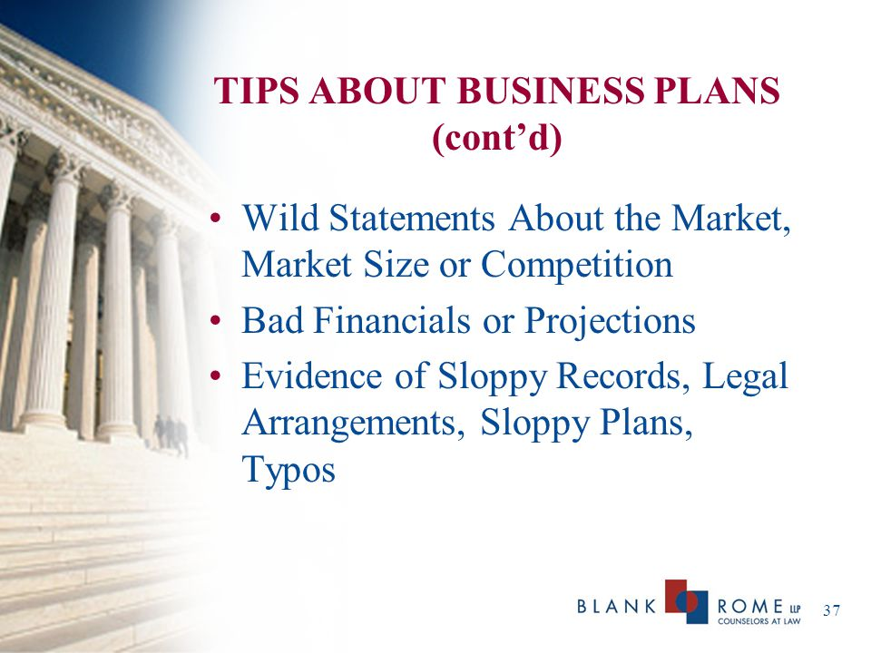 TIPS ABOUT BUSINESS PLANS (cont'd)