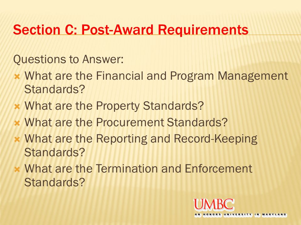 Section C: Post-Award Requirements