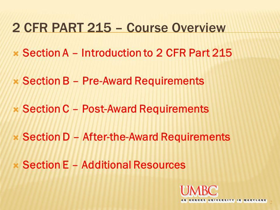 2 CFR PART 215 – Course Overview