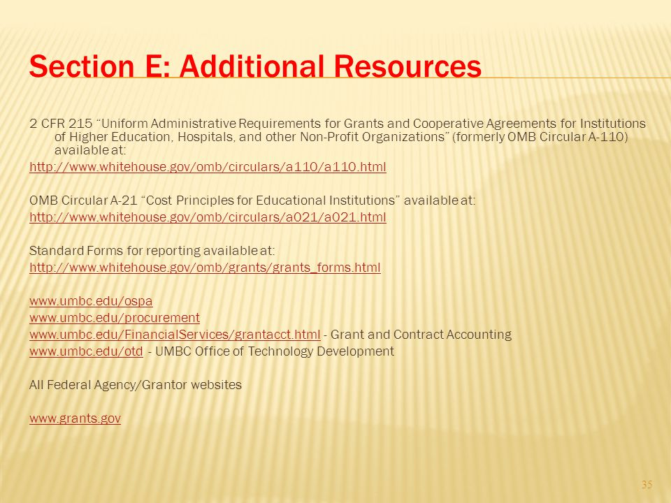 Section E: Additional Resources